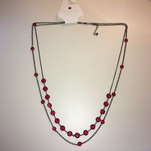 """Double strand necklace with red """"gems"""""""